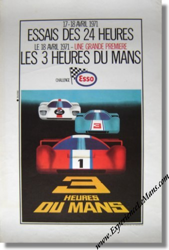 Vintage Original 1971 24 Hours of Le Mans Qualifying Poster