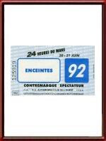 1992 24 Hours of Le Mans Contremarque Re-Entry Ticket
